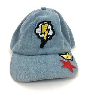 NWOT Steve Madden Denim Hat Bolts Patch Adjustable
